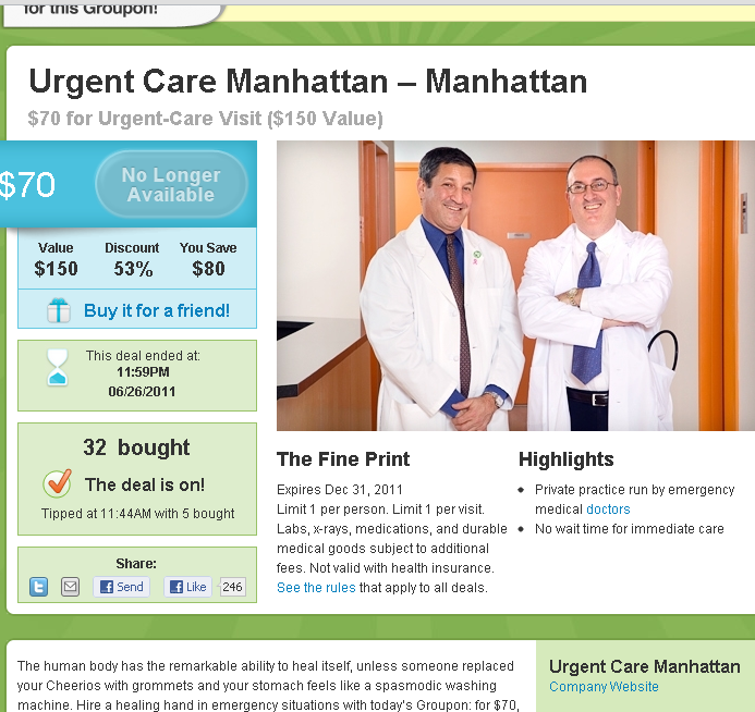 Groupon for health care (and LivingSocial and LifeBooker)