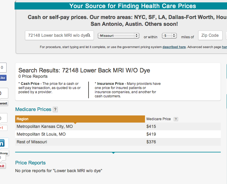 How much does an MRI cost in Missouri? $376 or $1,100-plus?