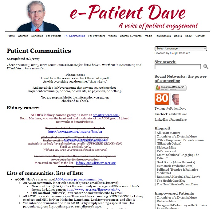 Patient communities online: Lists, and lists of lists