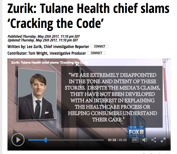 Tulane Health CEO slams 'Cracking the Code' work; meanwhile, New Orleans woman saves $3,786 with our data