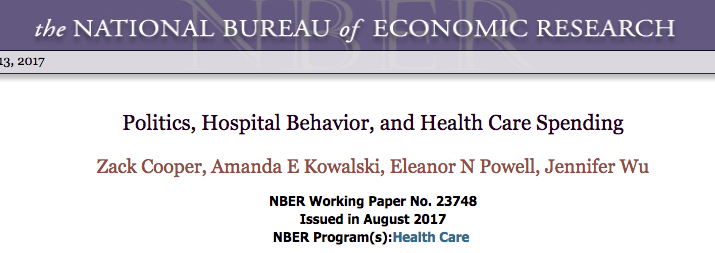 Politics, lobying, hospital behavior and health care spending: NBER study