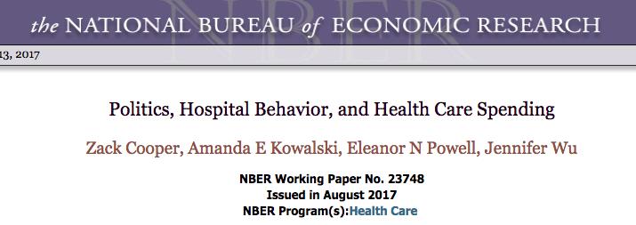 Politics, lobying, hospital behavior and health care spending: NBER study