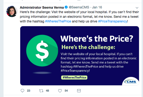 Medicare head asks Twitter to help enforce price transparency policy
