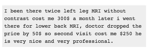 How much does an MRI cost? $250, or $300?