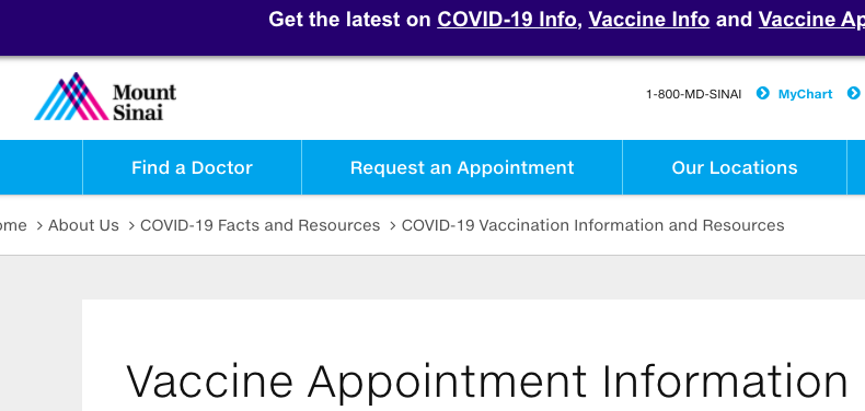 Coronavirus (Covid-19) and the vaccine: Mount Sinai calls a halt to non-staff vaccinations