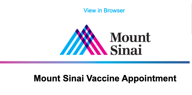 Coronavirus (Covid-19) and the vaccine: Mount Sinai cancels coming appointments