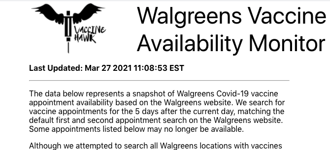 Coronavirus (Covid-19) and the vaccine: A friend put together Vaccinehawk, an updater for Walgreens sites